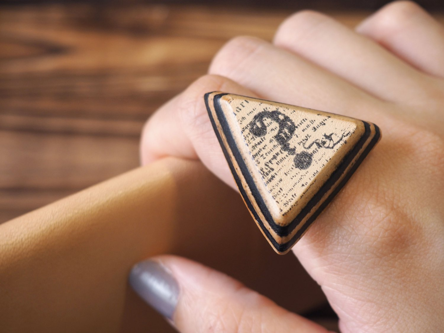 Handmade Leather Question Mark Adjustable Rings Triangle Funny gifts Personalized gifts #Black