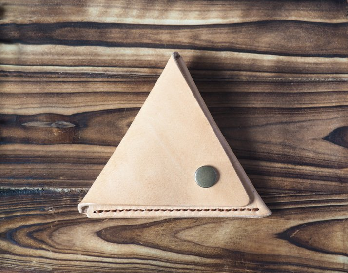 Handmade Leather Coin Purse Triangle Coin holder Designer wallets Purses Coin pouch #Natural Nude