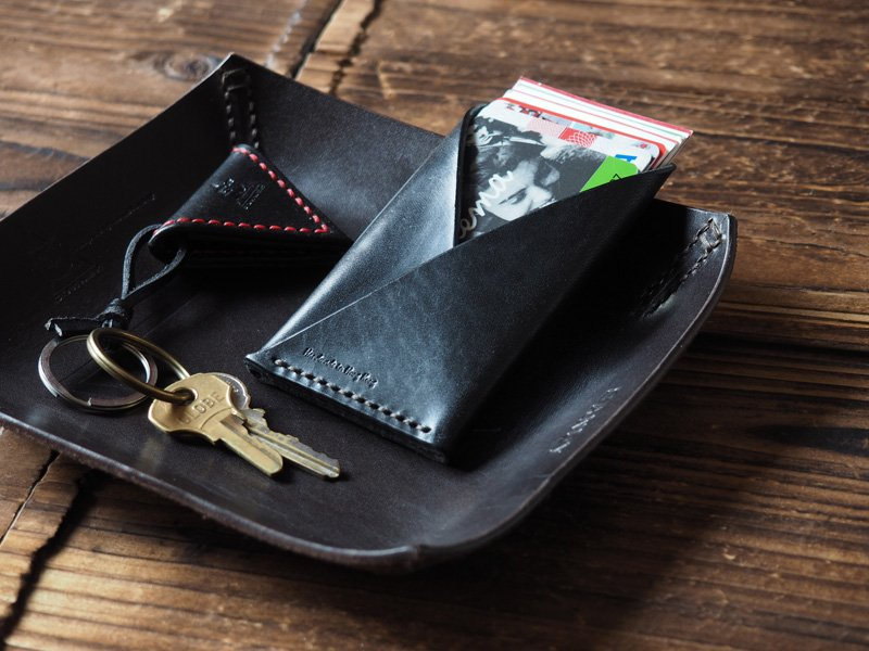 Handmade Leather Credit card holder Card wallet Slim wallet Business card case mens wallets #Black