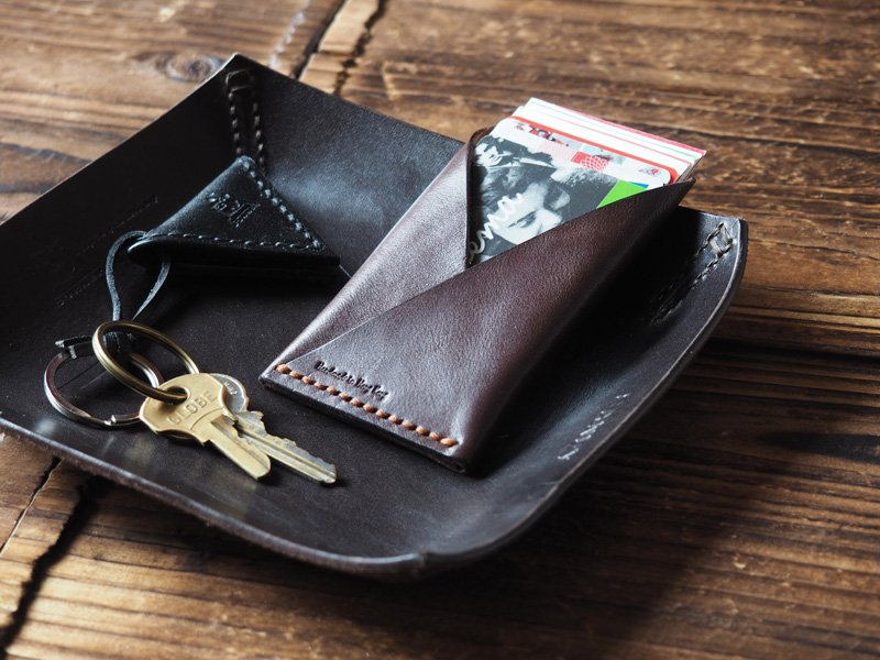 Handmade Leather Credit card holder Card wallet Slim wallet Business card case mens #Dark Brown