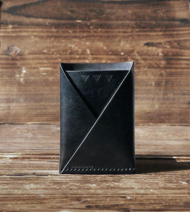 Leather Minimalist Slim Folded Card Wallet-card holder, Card Sleeve, credit card holder #Black