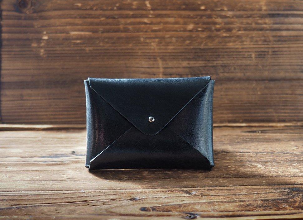 Handmade Leather Business card holder Credit card holder Slim Card wallet coin purse #Black
