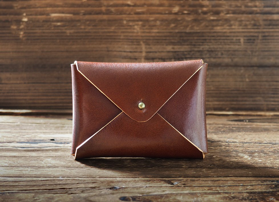 Handmade Leather Business card holder Credit card holder Slim Card wallet coin purse #Whiskey Brown