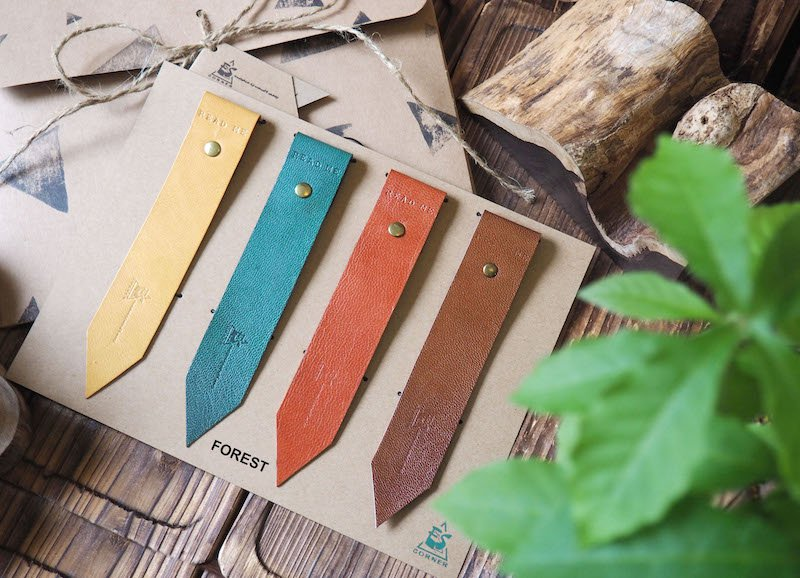 Natural Forest Leather Bookmark Gift Set - Handmade Hand stitched Book Mark, Minimal