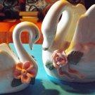 Pair of porcelain swans