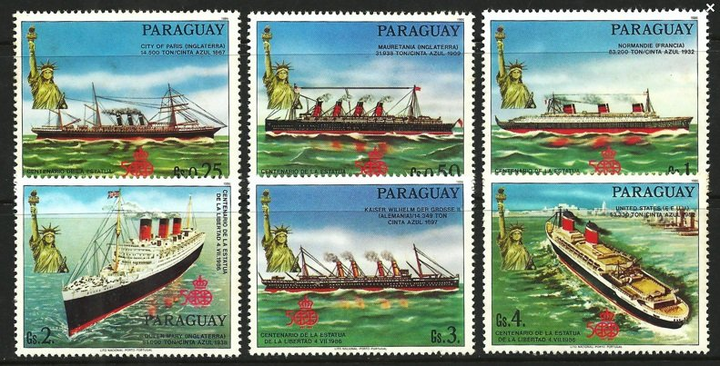 SHIPS / Paraguay. 1986 The 100th Anniversary of the Statue of Liberty in New York - Ships MNH