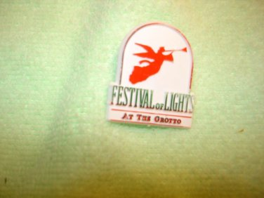 Festival of lights at the Grotto plastic pin back pin.
