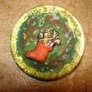 Large lucite button with  Christmas stocking.