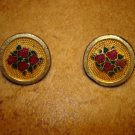 Set of 2 vintage brass buttons with red roses.