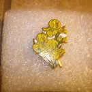 Yellow Iris all metal pin badge pin.