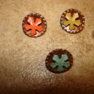 Lot of 3 small antique metal buttons.