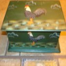 Old green wood box with painted rooster & inside dividers.