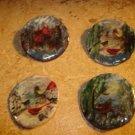 Bird serie paper mache buttons lot of 4 signed by artist.