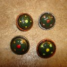 Lot of old 4 nicely painted metal buttons.