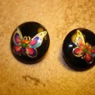 Lot of 2 black  plastic buttons with colorful butterflies.