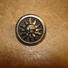 Silver metal button with blazing sun.