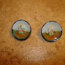 Set of 2 nicely painted buttons with lighhouse.