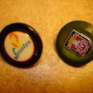 Lot of 2 advertising plastic buttons for Spontex and Vivo.