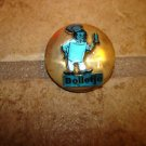 Dome shape gold metal advertising button for Chef Bolletje.