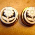 Lot of 2 metalized plastic buttons with ceramic flower.