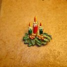 Christmas gold metal brooch pin with candles & holly.