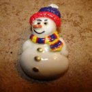Cute snowman button with hat and scarf.