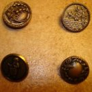 Lot of 4 antique picture buttons grapes, flowers.