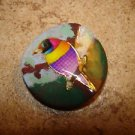 Large plastic button with colorful tropical bird.