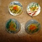 Lot of 4 vintage mother of pearl buttons with mushrooms.