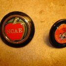 Lot of 2 advertising plastic buttons for NCAE and Barneveld.