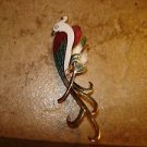 Vintage Cloisonné gold metal parakeet bird brooch pin