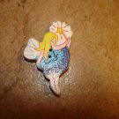 Wood button with fairy holding shining star.