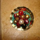 Gold metal bowl shape button with glass, metal & pearl beads.