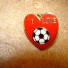 I love soccer all metal pin badge.