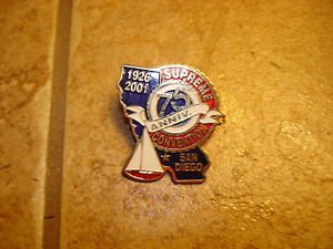 Supreme 75 Anniversary Convention 1926-2001 San Diego metal pin badge.