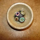 Large wood button with heart, flowers and rhinestones.