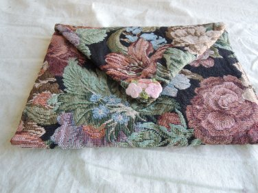 SHIPS FREE in cont US tapestry clutch bag with floral closure