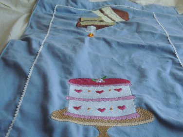 SHIPS FREE IN CONT US kitchen tea towel with embroidered cake desings