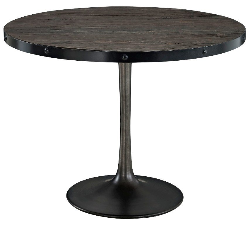 Wooden Top Dining Table Cast Iron Base Round Black 39 5L X 39 5W X 29