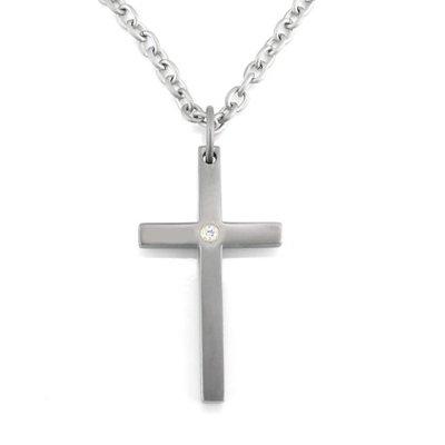 Titanium Cross Pendent With Diamond And Chain