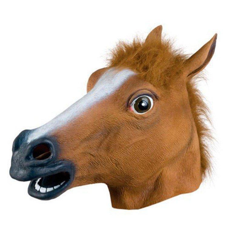 Horse Mask Latex Prop Head Mardi Gras Animal Surprise Novelty Costume Cosplay Celebration