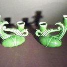 Vintage Green Pottery Candle Holders - # stamped