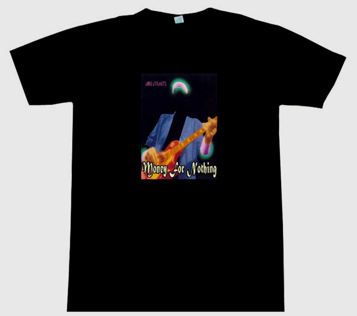 Dire straits money for nothing tee t shirt knopfler for Simply for sports brand t shirts