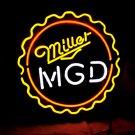 "Brand New MILLER MGD Beer Bar Neon Light Sign 16""x 16"" [High Quality]"