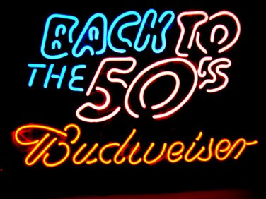 """Brand New Budweiser Beer Back to the 50's Bar Light Sign 16""""x 10"""" [High Quality]"""