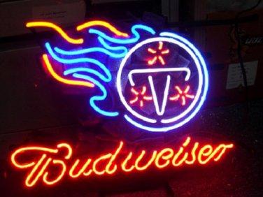 "Brand New Budweiser Beer - NFL Tennessee Titans Bar Neon Light Sign 16""x14"""