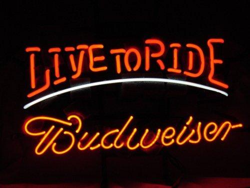 "Brand New BUDWEISER Live to Ride enjoy Beer Neon Light Sign 15""x 10"""