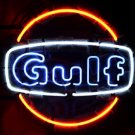 "Brand New GULF Oil Gas Logo Pub Neon Light Sign 16""x16"" [High Quality]"
