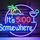 "Brand New It's 5.00 Somewhere Margaritaville Buffett Bar Neon Light Sign 18""x 16"" [High Quality]"