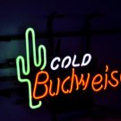 "Budweiser Bud Ice Cactus Logo Beer Bar Real Glass Tube Neon Light Sign 16"" x 15"" - Handmade"